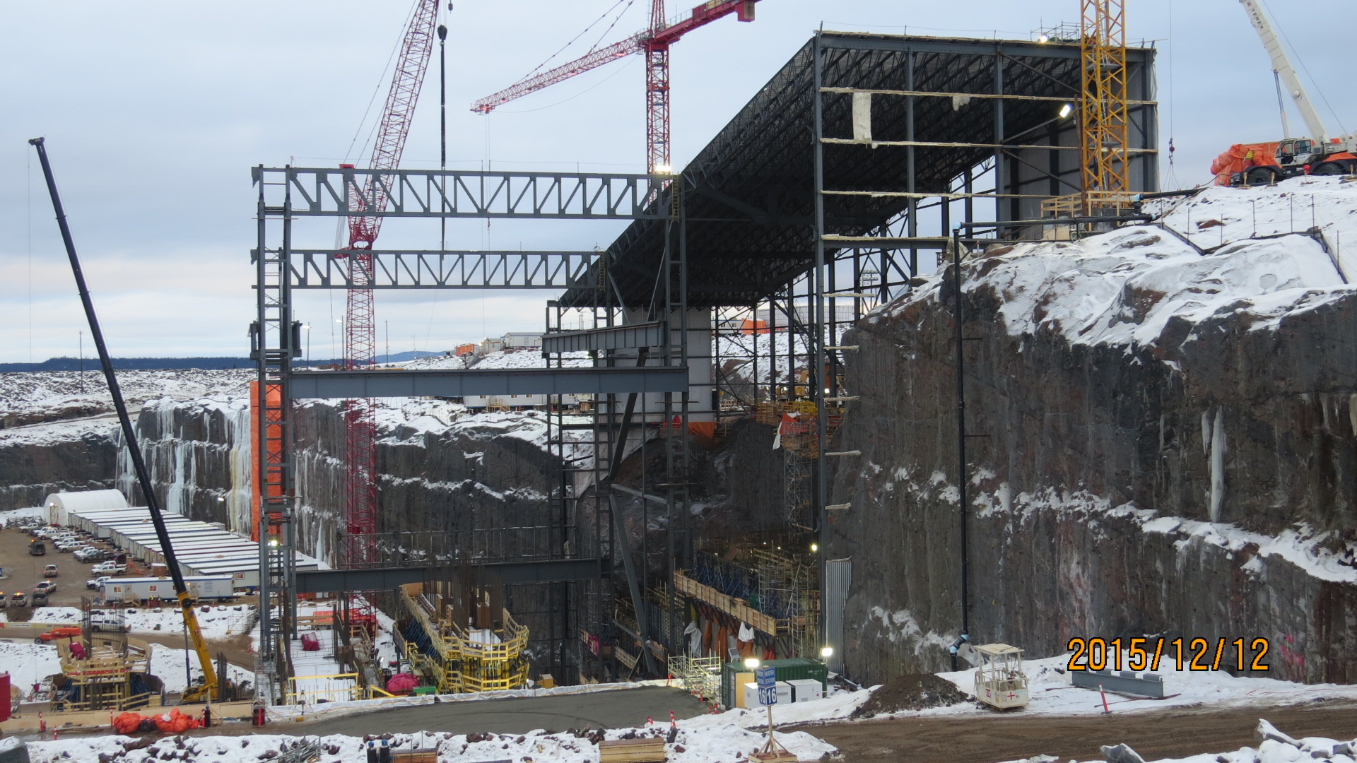 Construction in the powerhouse area at Muskrat Falls