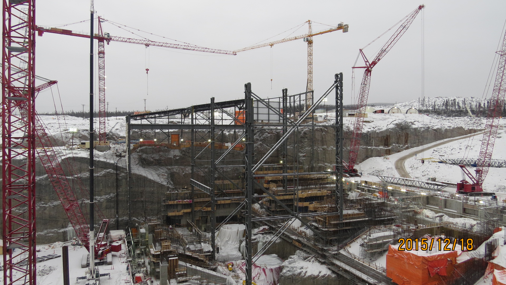 The powerhouse under construction at Muskrat Falls