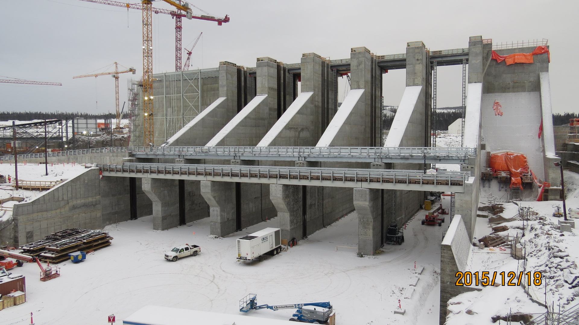 The spillway under construction at Muskrat Falls
