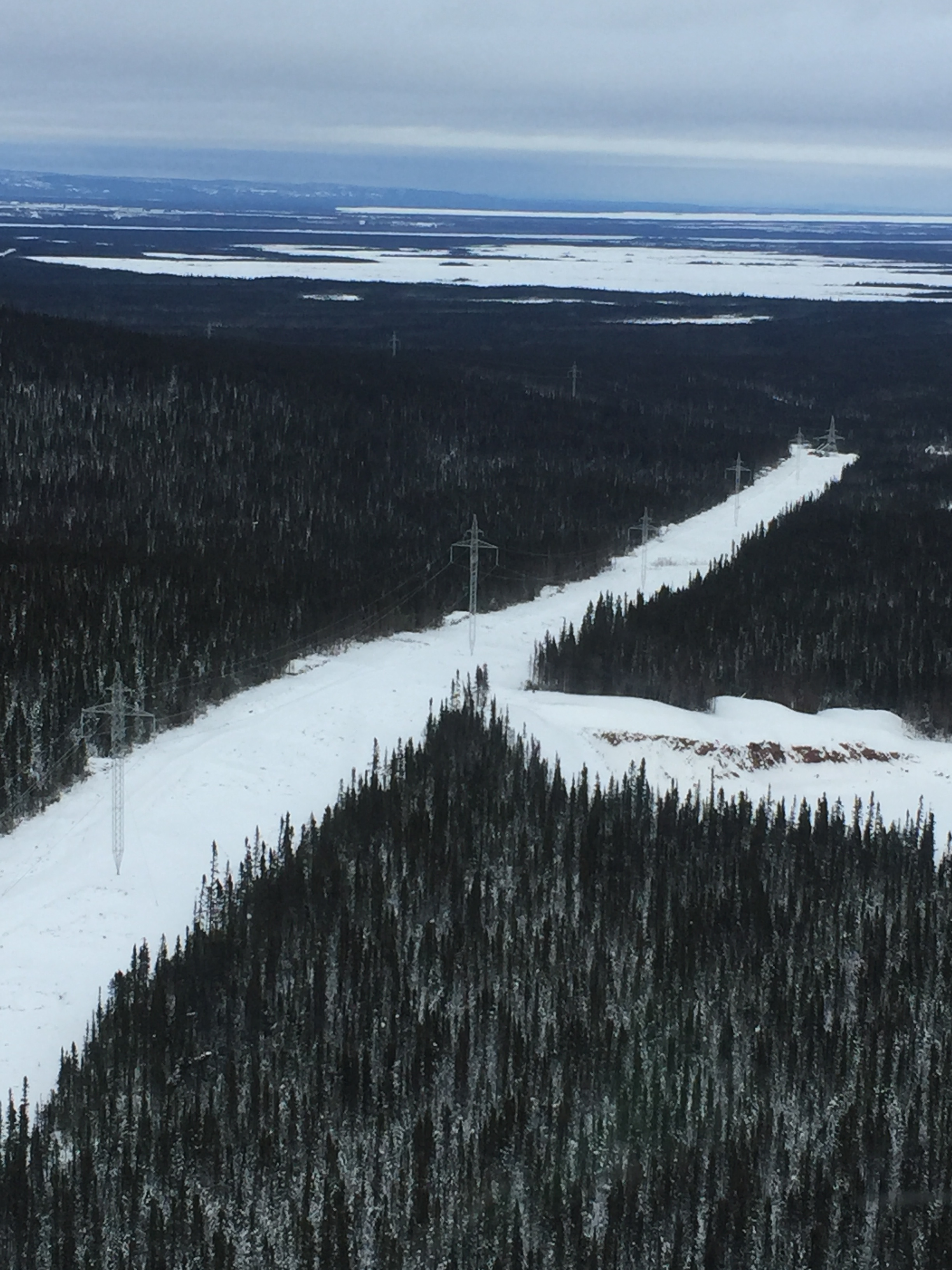 Construction of the Labrador-Island Link south of Muskrat Falls, Labrador