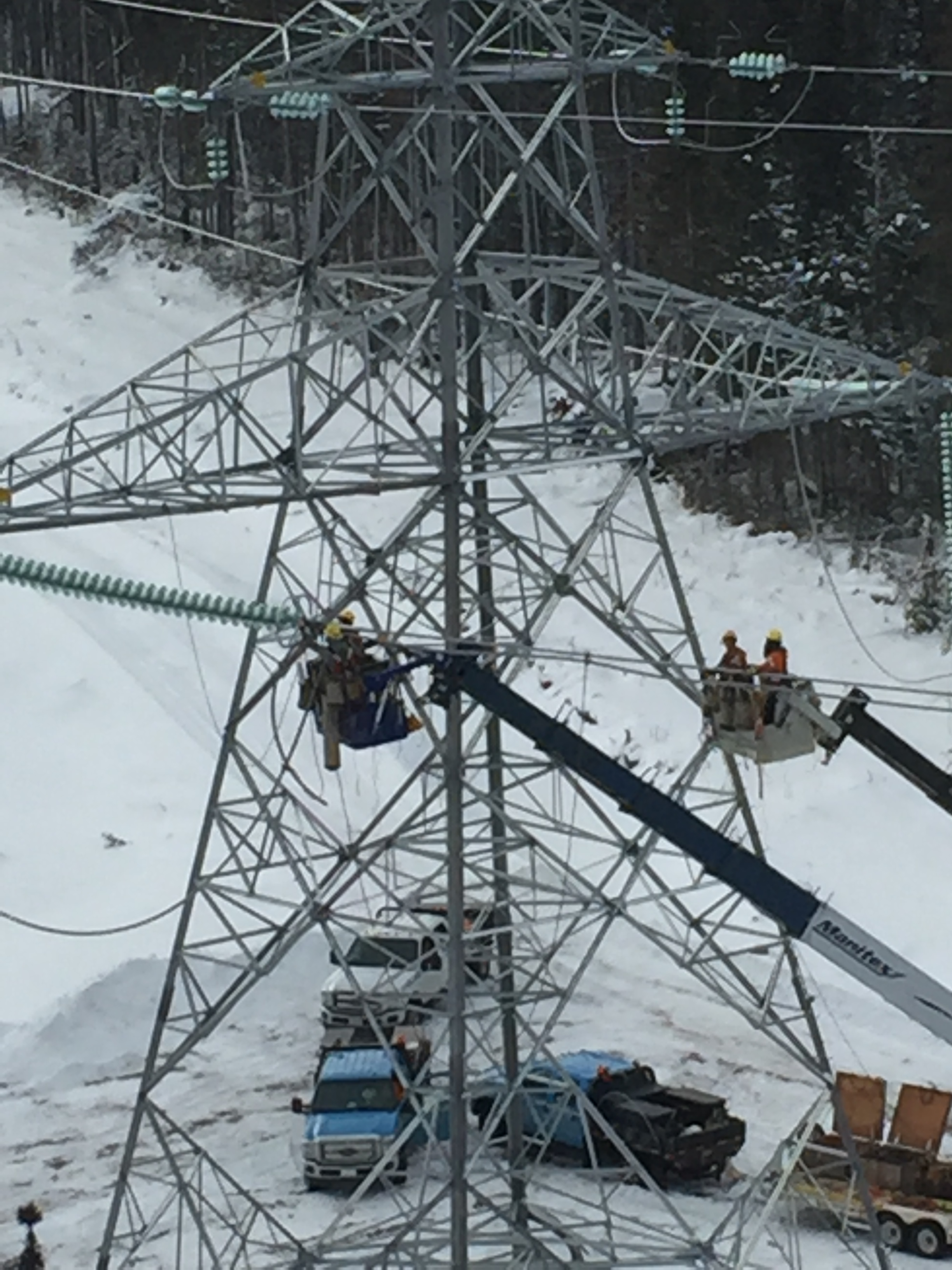 Crews working on the 1,100 km HVdc Labrador-Island Link in Labrador