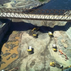 Construction activities are underway at Muskrat Falls in preparation for spillway operation and river diversion this summer.