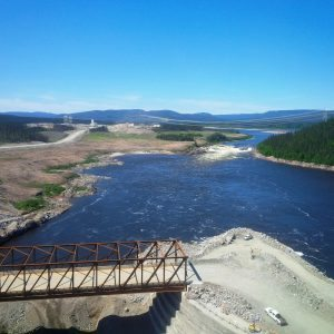 Upstream view of the Churchill River from the spillway at Muskrat Falls.