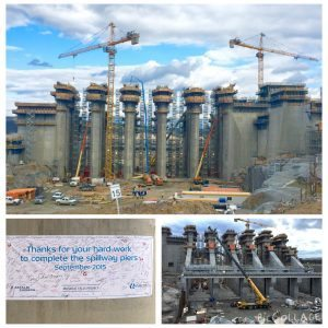 Concrete placement for the Muskrat Falls spillway piers was completed on September 30, 2015. Over 48,000 m3 of concrete was poured for the structure, which is about 43 m tall.